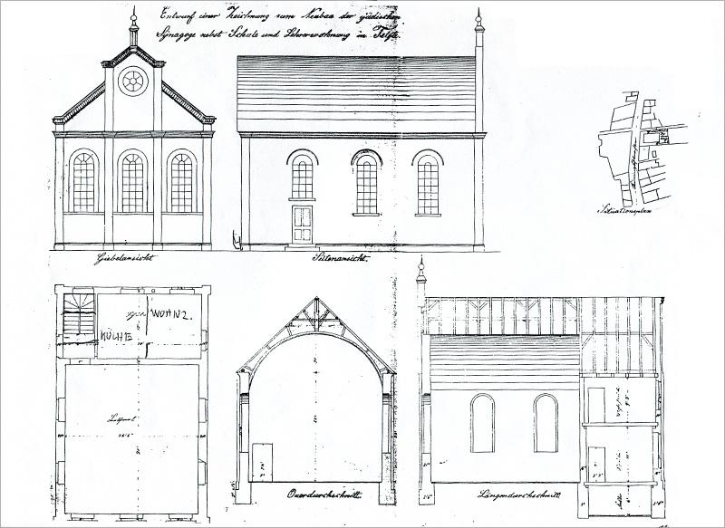 Neue Synagoge, Bauzeichnung 1875